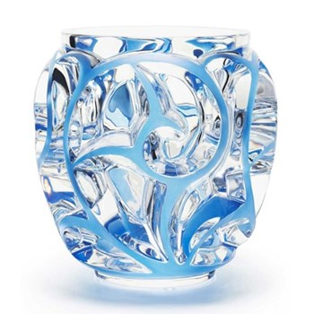 Tourbillons Vase, H16.6 x D12.2cm, clear with patinated blue