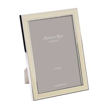 "Enamel Range Photograph frame, 5 x 7"" with 15mm border, vanilla with silver plate"