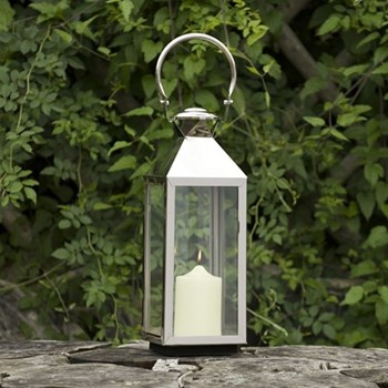Chelsea Lantern - small, 52 x 18 x 18cm, stainless steel nickle plate and glass