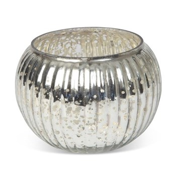 Globe Votive - small, 6 x 9cm, silver glass