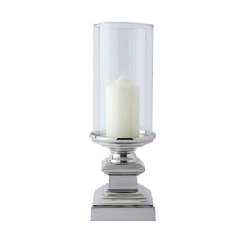 Paris Hurricane lantern - small, 25 x 10 x 10cm, aluminium, nickel plate and glass