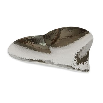 Champagne Hammered Heart dish - large, 4.5 x 24.5 x 25cm, stainless steel