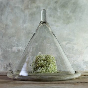 Conical dome, 34 x 36cm, recycled glass