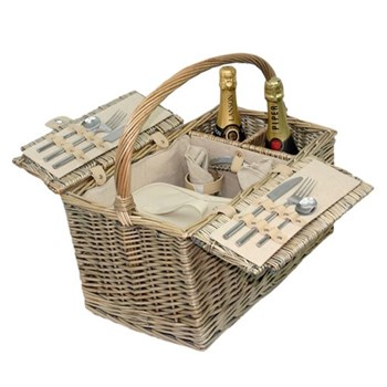 Removable chiller Picnic hamper 2 person, 46 x 34 x 24cm, antique wash with cream faux leather