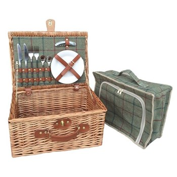 Green Tweed Picnic hamper 2 person, 41 x 30 x 19cm, light willow with tan leather