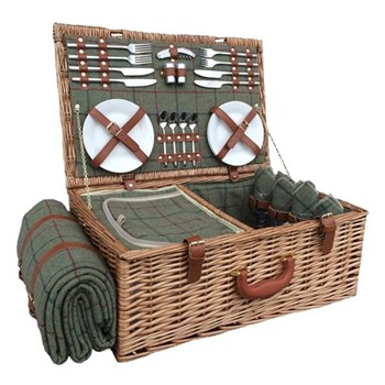 Green Tweed Picnic hamper 4 person, 58 x 38 x 22cm, light willow with tan leather
