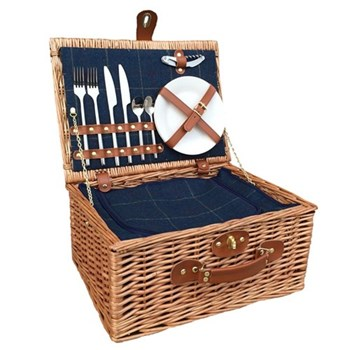 Blue Tweed Picnic hamper 2 person, 41 x 30 x 19cm, light willow with tan leather