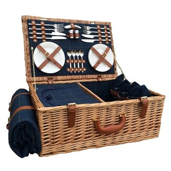 Blue Tweed Picnic hamper 4 person, 58 x 38 x 22cm, light willow with tan leather