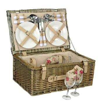 Picnic hamper 4 person, 45 x 30 x 19cm, antique wash with cream faux leather