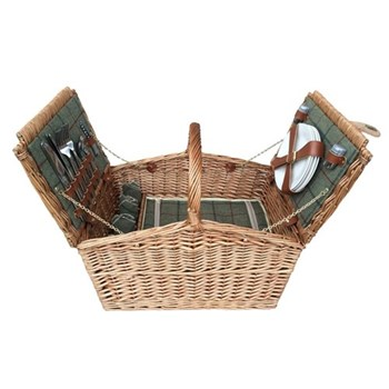 Green Tweed Double Lidded Picnic hamper 4 person, 48 x 33 x 28cm, light willow with tan leather
