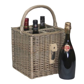 4 bottle basket with opener, 25 x 25 x 25cm, antique wash