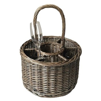 Special event basket, 20 x 32cm, 43cm with handle, antique wash with 6 glasses
