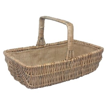 Large rectangular garden trug, 48 x 30 x 14cm, antique wash with hessian lining