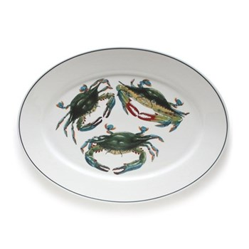 Seaflower Collection Large oval platter, 42cm, Blue Crab