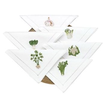 Vegetable Set of 6 embroidered napkins, L40 x W40cm, white