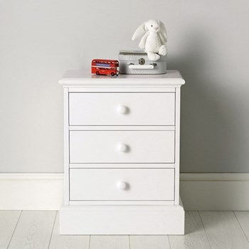 Classic 3 drawer bedside chest, 63 x 50 x 37cm, white