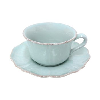 Impressions Set of 6 jumbo cups and saucers, turquoise