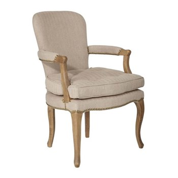 Juliette French salon chair, 63 x 67 x 95cm, oak frame with natural herringbone upholstery