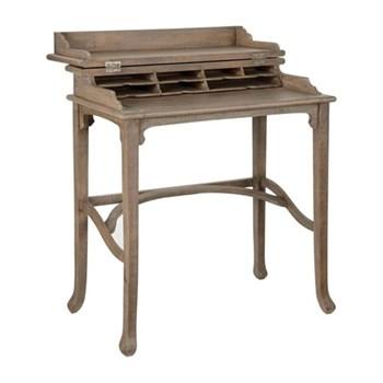 Handmade Campaign Small writing desk, 75 x 43 x 81cm, vintage oak finish
