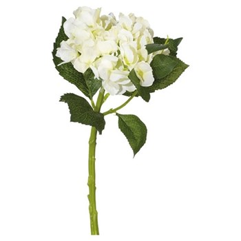 Faux mop head Hydrangea stem, 40cm, white