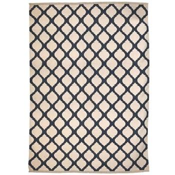 Jerada Dhurrie rug, 434 x 310cm, blue/white cotton