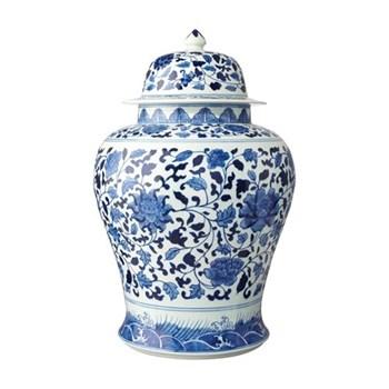 Giant hand-painted lidded jar D35 x H51cm