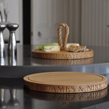 Bespoke engraved thin round board, D38 x D3.5cm