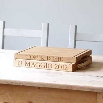 Bespoke engraved thin rectangular board, L40 x W30 x D3.5cm