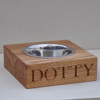 Bespoke engraved single dog bowl, L21 x W18 x D7cm
