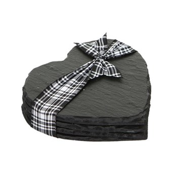 Set of 4 heart coasters, 11cm, slate