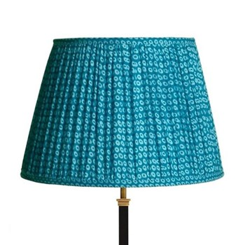 Straight Empire Block printed lampshade, 40cm, blue cotton