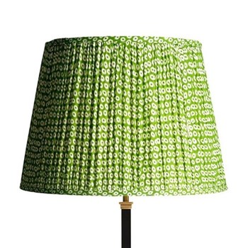 Straight Empire Block printed lampshade, 40cm, green cotton