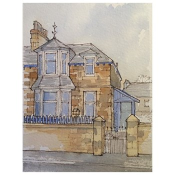Watercolour Painting Bespoke architectural portrait, mounted, A5