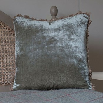 Velvet cushion, 45 x 45cm, smokey green