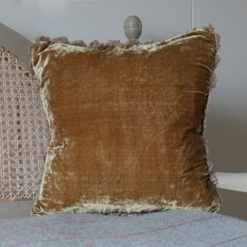 Velvet cushion, 45 x 45cm, olive with fan edge