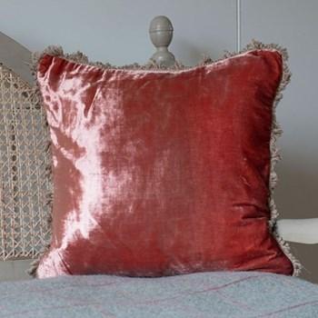 Velvet cushion, 45 x 45cm, russet red