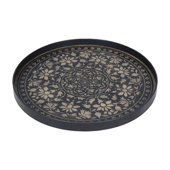 Marrakech Large round tray, 61cm, black driftwood