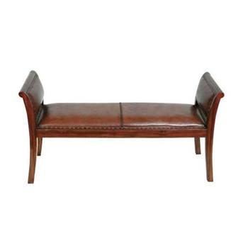 Butterfly Bench, 132 x 44 x 68cm, leather and teak