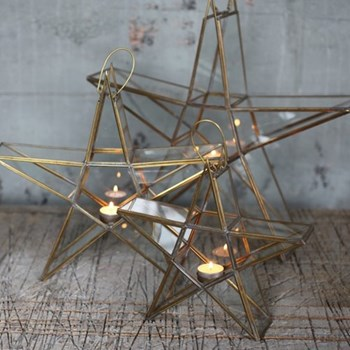 Sanwi Standing star, 46.5 x 49 x 9.5cm, brass