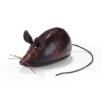 Mouse Animal paperweight, L130 x W75 x H75mm, cowhide leather