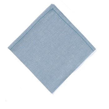 Feather stitch Set of 4 napkins, 54 x 54cm, aquamarine