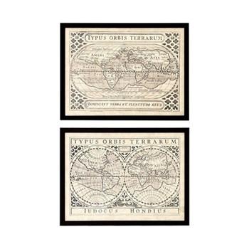 Set of 2 vintage map prints W57.5 x H44cm