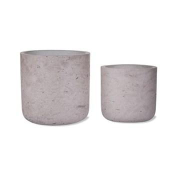 Stratton Set of 2 straight cement plant pots, 14.5 x 15cm, 11.5 x 12cm, stone