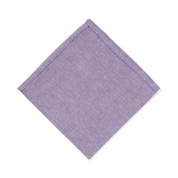 feather stitched linen Set of 4 napkins, 54 x 54cm, amethyst