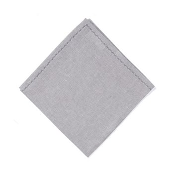 feather stitched linen Set of 4 napkins, 54 x 54cm, grey