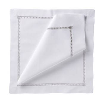 coloured hemstitch Set of 4 napkins, 54 x 54cm, silver