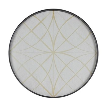 Geometry Large round tray, 61cm, wood and glass finish