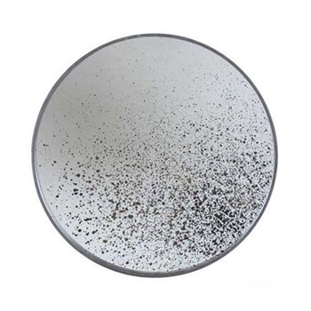 Light Aged Mirror Small round tray, 48cm, wood and speckled antique finish