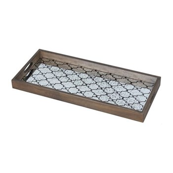 Gate Tile Medium rectangular tray, 69 x 31cm, wood and aged mirror