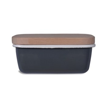Butter dish with wooden lid H6.5 x W15 x D10cm